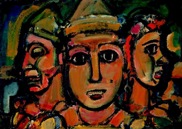 Lew Trois Clowns (The Three Clowns) by Georges Rouault shows how we can put on faces, but God sees past those faces to our hearts