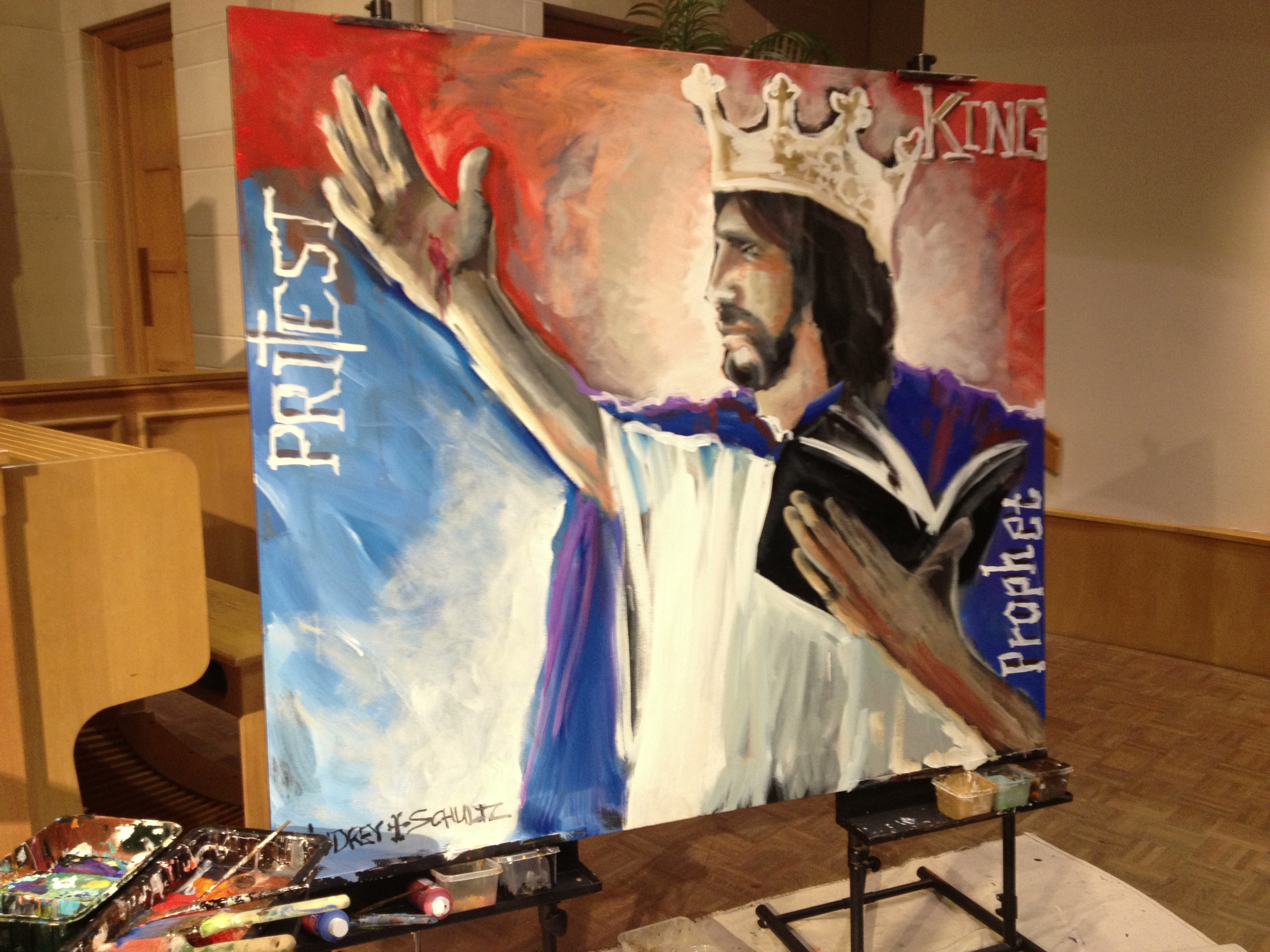 This piece was created live during our services by artist Audrey Schultz